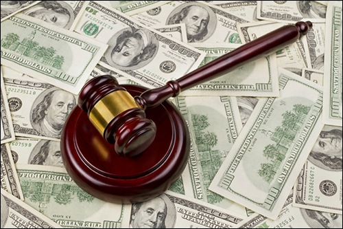 Judge's Gavel Over Cash (Stock Image)