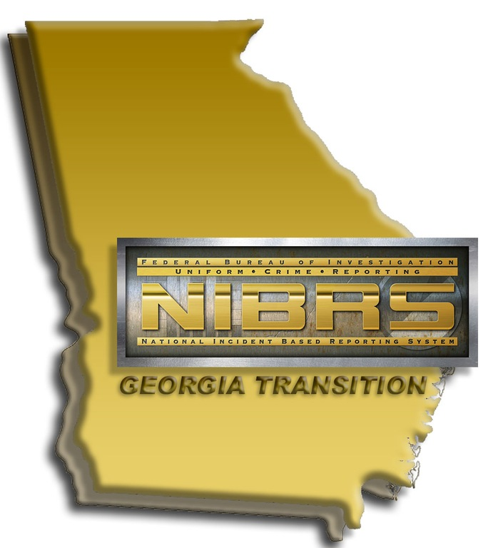 Graphic depicting outline of state of Georgia with National Incident-Based Reporting System (NIBRS) logo and words Minnesota Transition. (From CJIS Link article.)