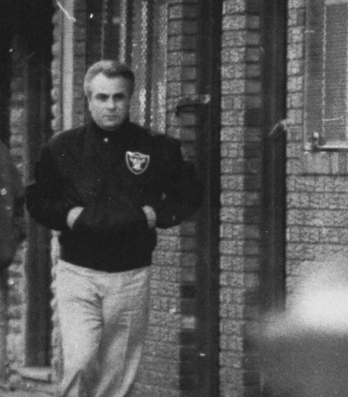 Surveillance photo of mobster John Gotti, walking down a street in 1980s in New York City.
