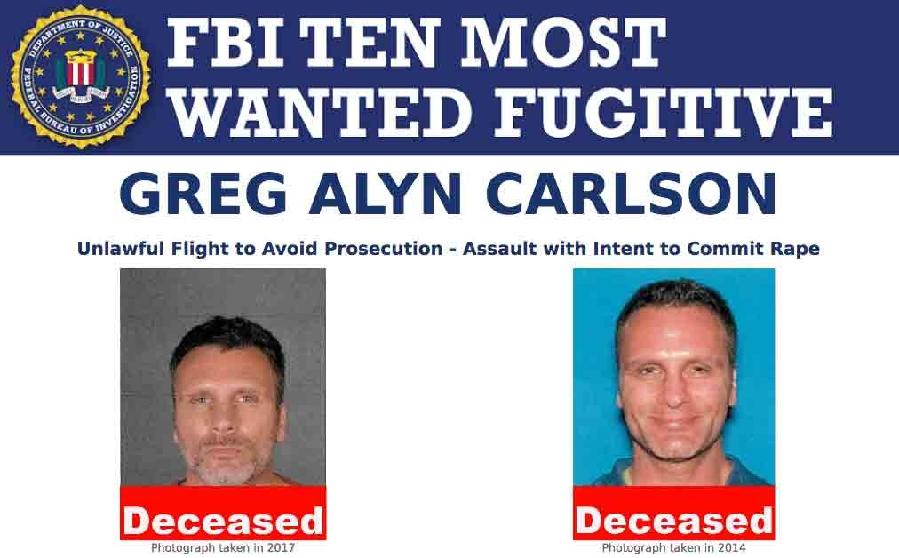 Screenshot of top portion of Greg Alyn Carlson's Ten Most Wanted Fugitive poster with Deceased banner.