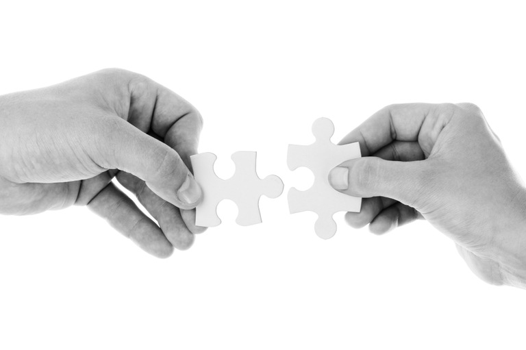Hands Holding Puzzle Pieces (stock)