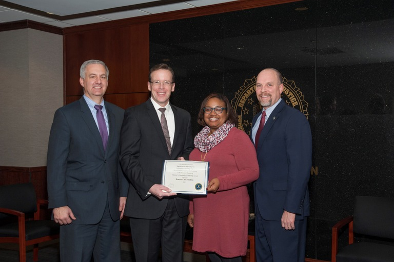 (Pictured left to right:  ASAC John Lenkart, SAC Adam Lee, Executive Director Octavia Marsh, and ASAC Tom Chadwick)