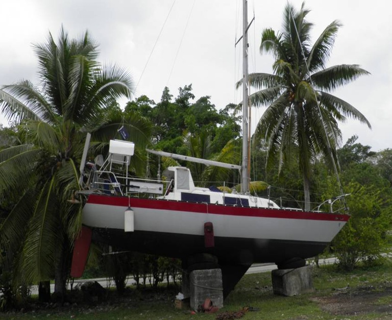 Jeff Hansonas Boat at Dry Dock in Niue