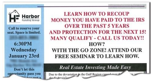 William Lange's Harbor Funding Group, Inc. placed ads such as this to target real estate developers and their clients seeking to rebuild after Hurricane Katrina. Instead of financing their projects, however, Lange swindled hundreds of people out of millions of dollars.