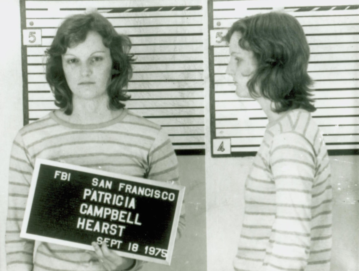 Mugshot of Patty Hearst upon her arrest in San Francisco on September 18, 1975.