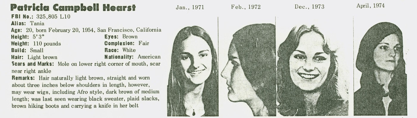 Portion of a wanted poster for Patty Hearst in October 1974.