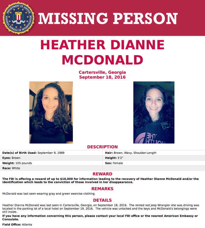 FBI Atlanta is seeking information on the case of 27-year-old Heather McDonald, who disappeared mysteriously from Cartersville, Georgia in September 2016.