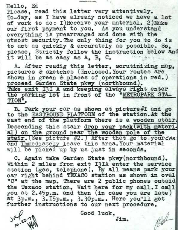 Soviet Spy Letter in the 1970s