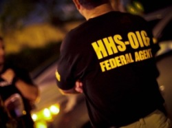 Man wearing shirt identifying him as a Health and Human Services-Office of Inspector General (HHS-OIG) federal agent. (Image from www.oig.hhs.gov)