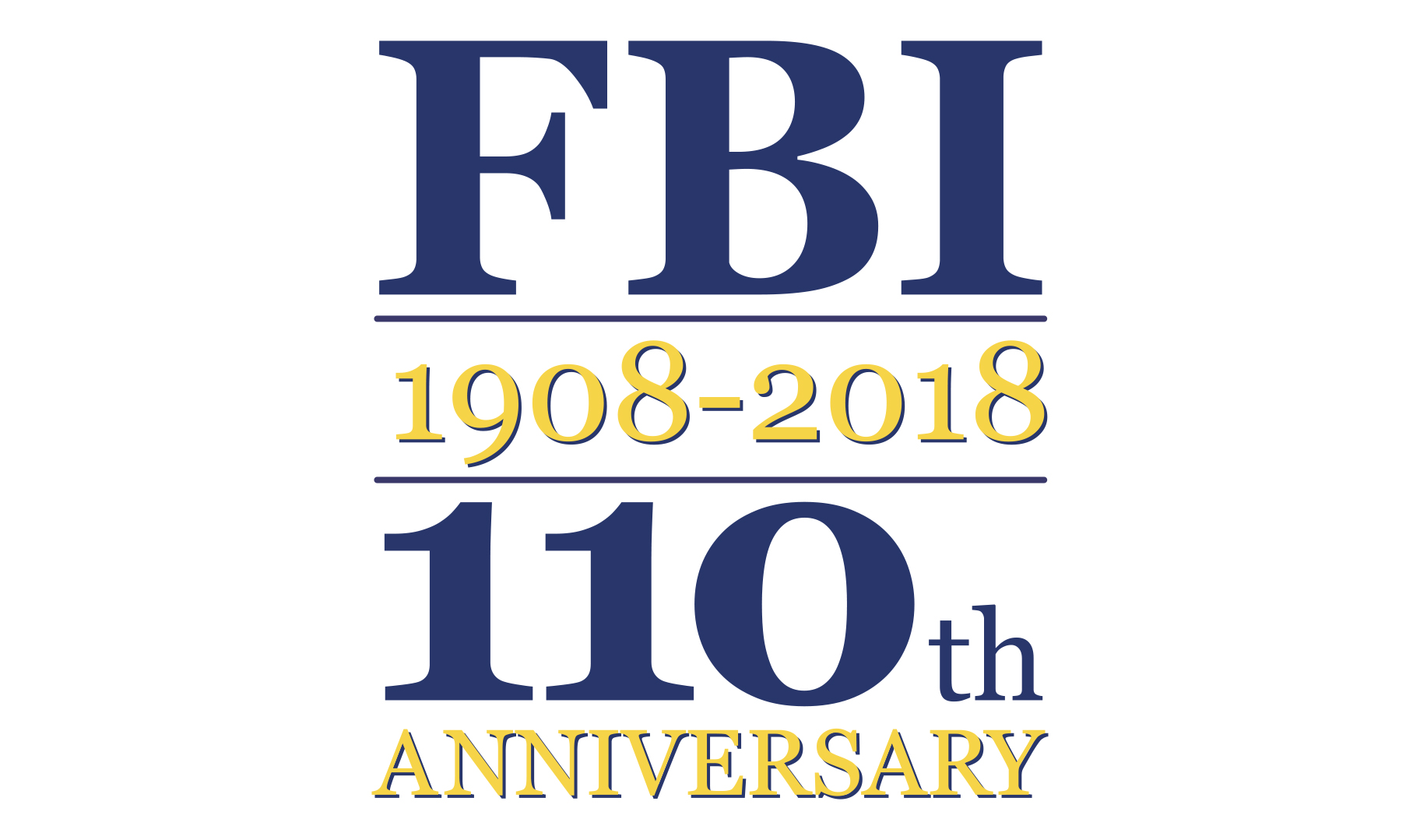 Logo depicting the 110th anniversary of the FBI (1908 to 2018)