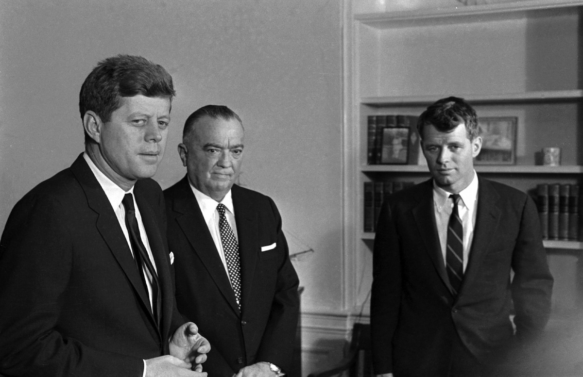 Director Hoover meets with President John F. Kennedy and Attorney General Robert Kennedy in February 1961. AP Photo.