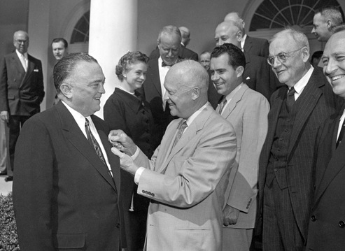 Director J. Edgar Hoover Receives the National Security Medal from President Eisenhower