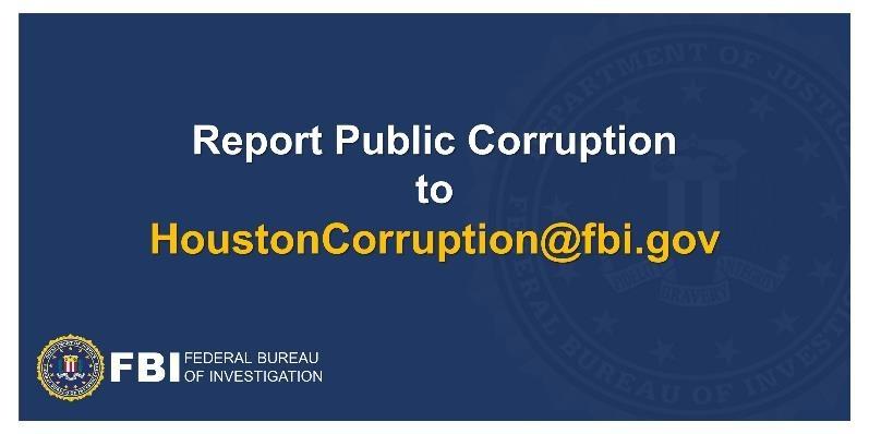 FBI Houston Launches Public Corruption Reporting E-Mail