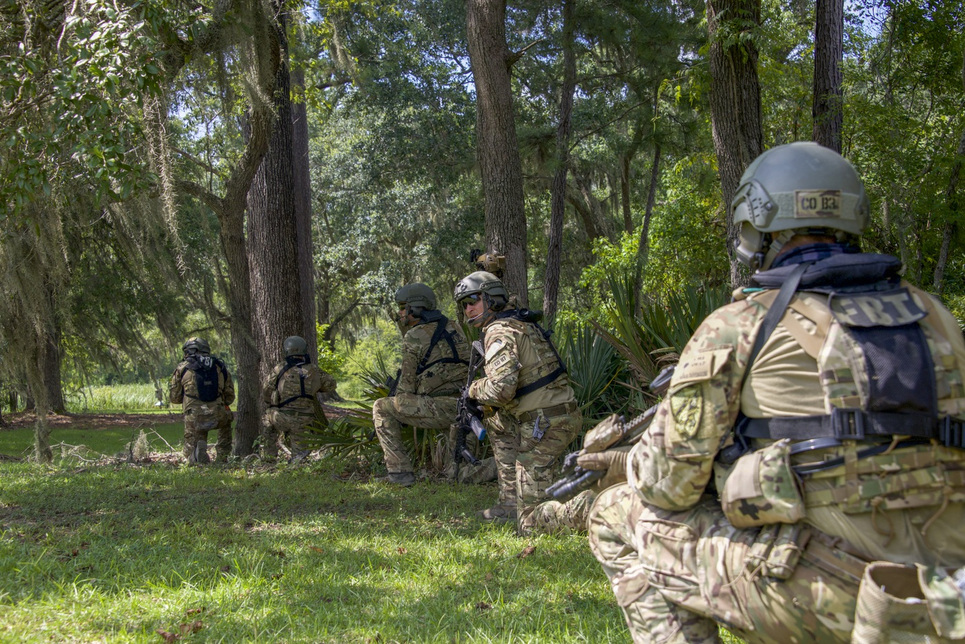 Photo of FBI SWAT team members in tactical gear during a Hostage Rescue Team (HRT) training exercise held August 5-7, 2019, in Charleston, South Carolina.