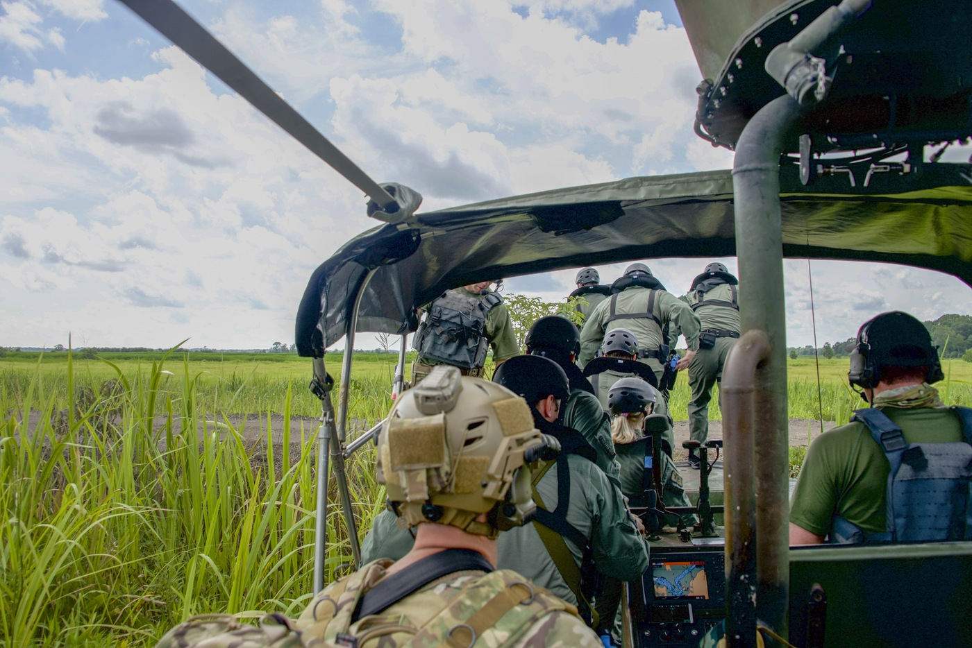 HRT Mobility Team delivers the Charleston County Sheriff's Office SWAT team to a wildlife reserve during a Hostage Rescue Team (HRT) training exercise held August 5-7, 2019, in Charleston, South Carolina.