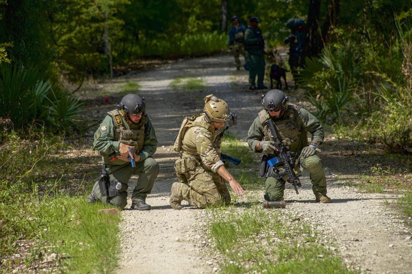 HRT Training: Bomb Technicians Examine Explosive Device