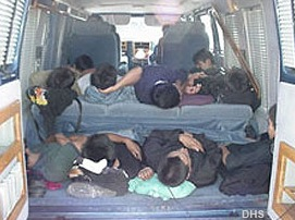 Trafficking Victims in Vehicle (DHS Photo)