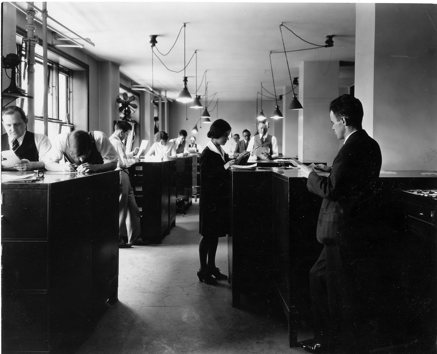 Fingerprint examiners of the Identification Division in 1929, five years after the FBI began managing the nation's fingerprint collections.