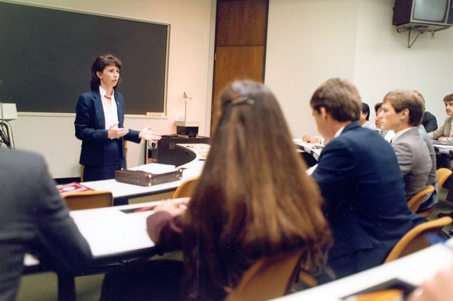 Kathleen McChesney became the first woman to attain the rank of executive assistant director after being named the head of Law Enforcement Services in December 2001. McChesney, shown here teaching a new agents class at the FBI Academy, became an agent in August 1978 and rose through the ranks as an investigator, supervisor, and manager in both the field and at Headquarters. She retired in November 2002. Today, the FBI employs more than 15,000 women, with over 2,600 serving as special agents. Visit FBIJobs.gov for the latest openings and more information on Bureau careers.