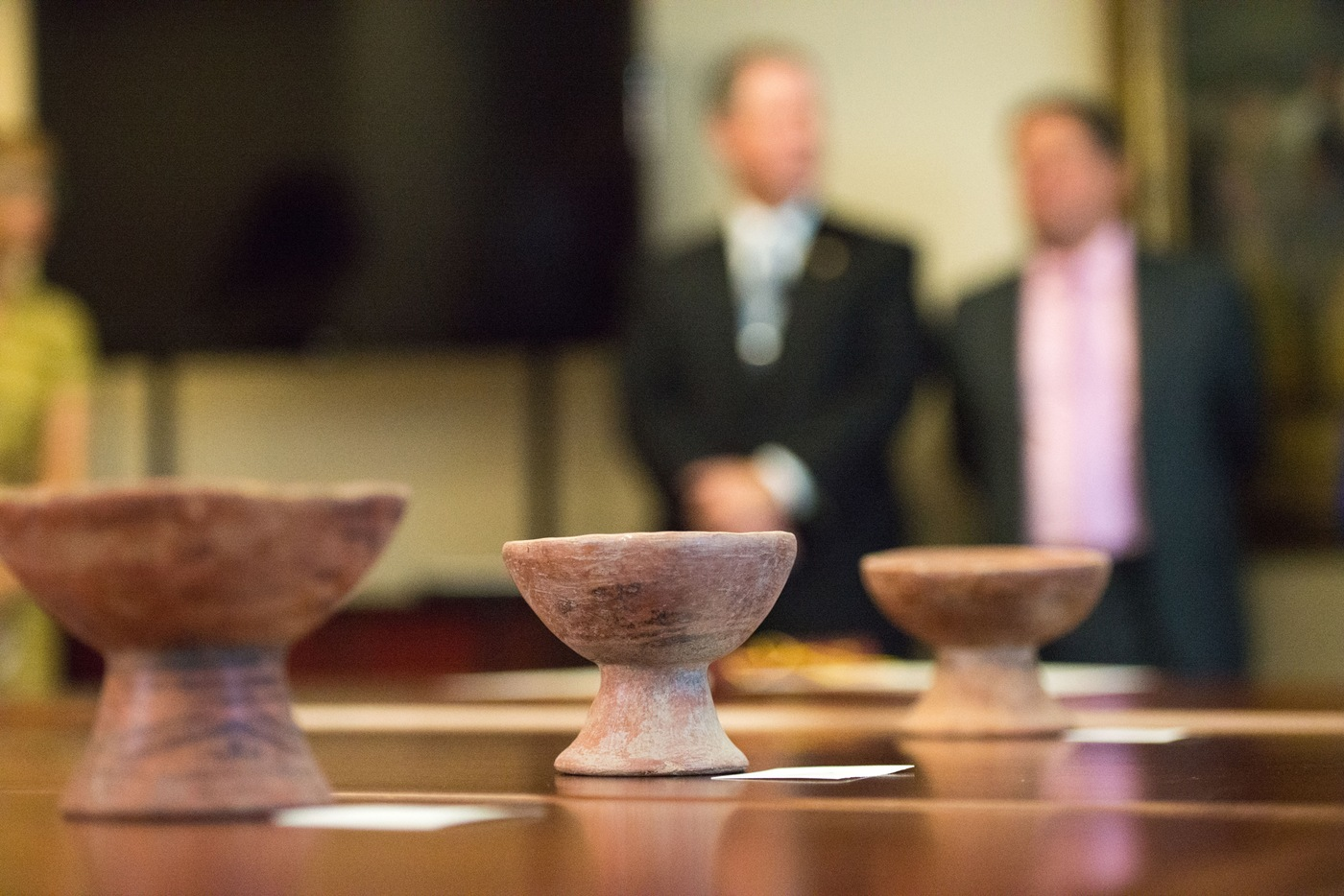 Colombian artifacts recovered by the FBI from Don Miller's home in Indiana are seen on a table during an October 2018 repatriation ceremony at the Colombian Embassy in Washington, D.C.