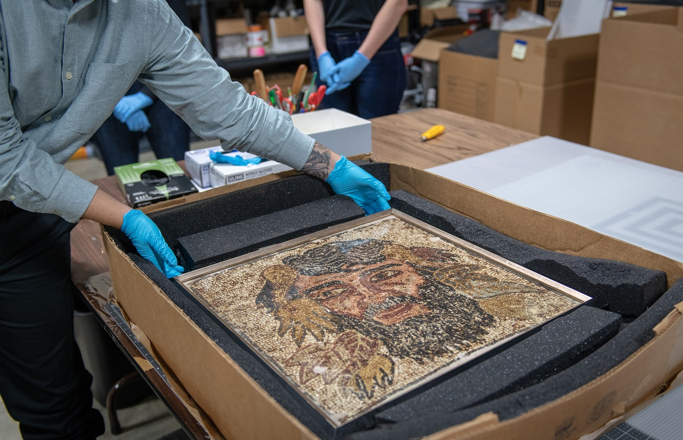An intricate Italian mosaic was among the thousands of items recovered by the FBI at Don Miller's home in 2014.