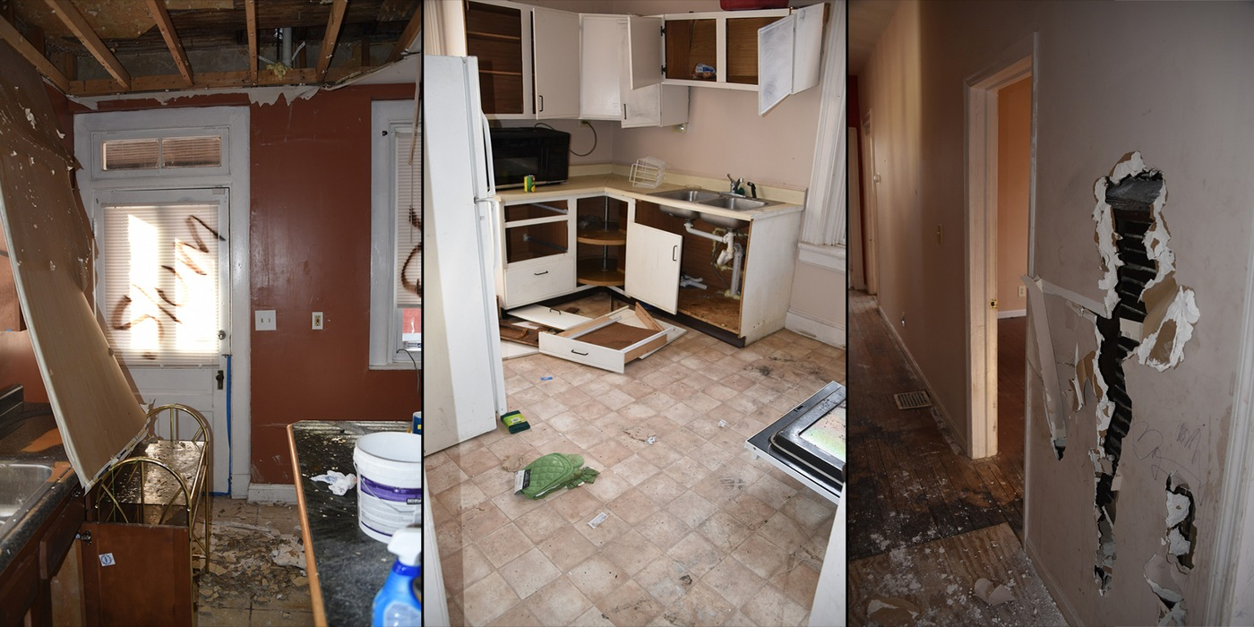 Composite image showing scenes from the interior of an Ohio home that was damaged by Samuel Whitt following his eviction; he was sentenced in 2019 on hate crimes charges.