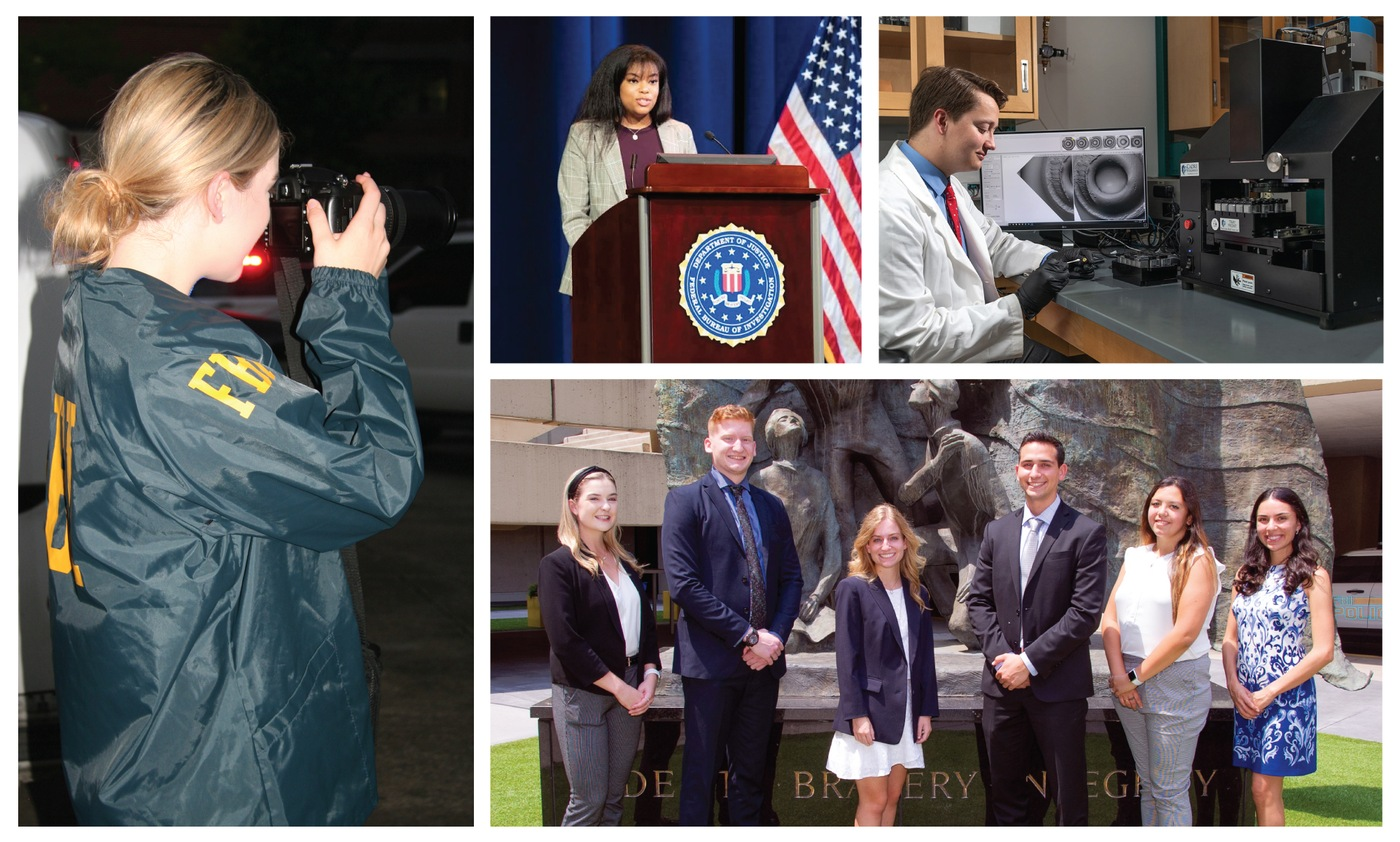 A photo collage depicting FBI interns giving speeches, taking photos, interviewing experts, and working in a lab.