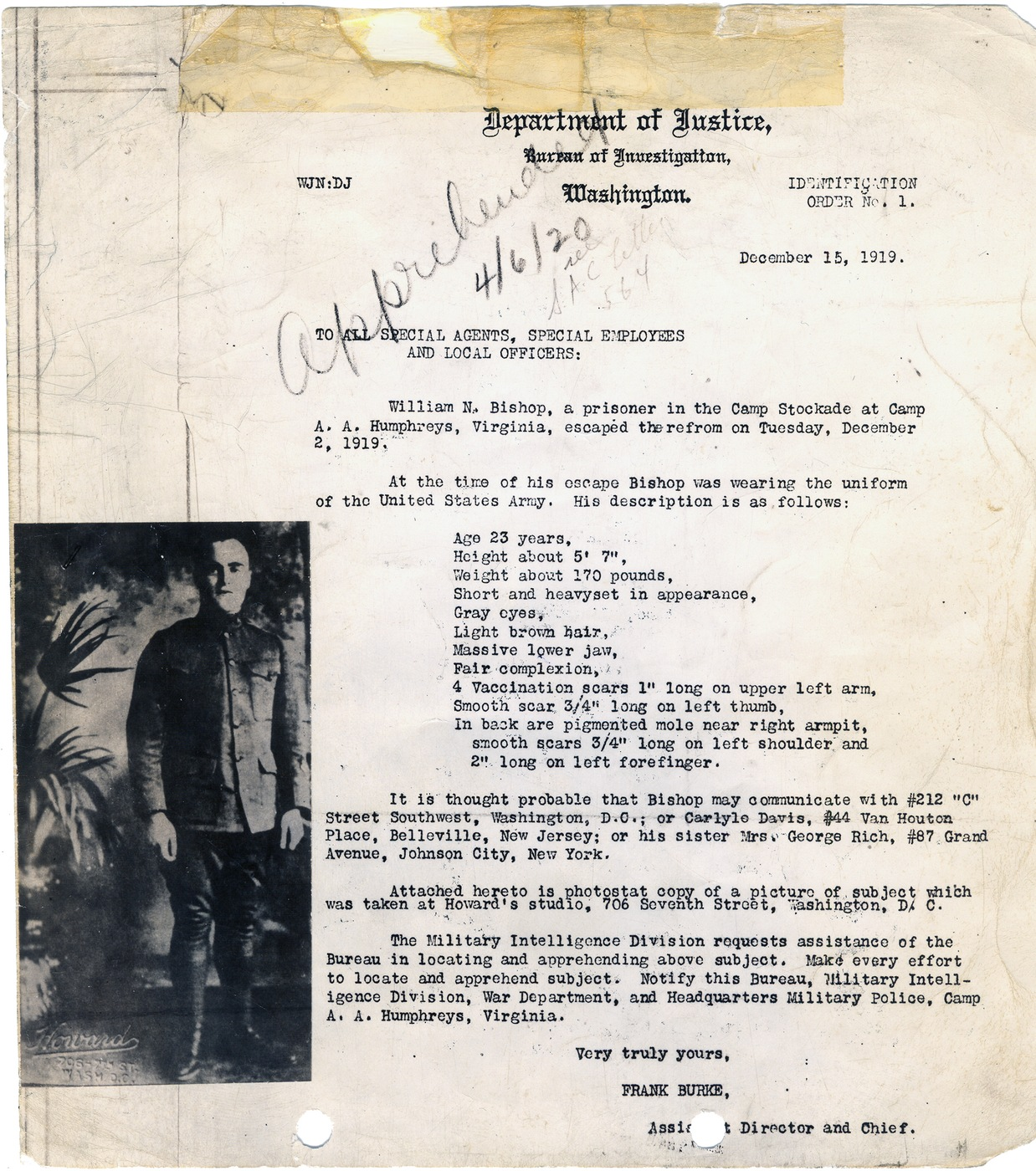 Copy of the first identification order sent out by the Bureau of Investigation in December 1919, seeking escaped U.S. Army prisoner William N. Bishop. He was captured in April 1920.