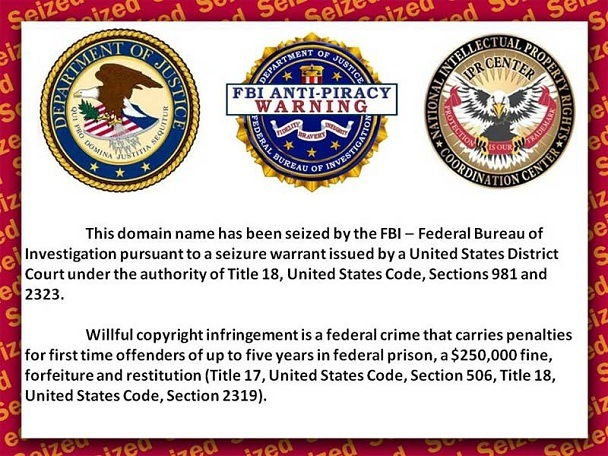 Screenshot of a splash page seen by visitors indicating that a website has been seized by the FBI and partner agencies due to copyright violations.