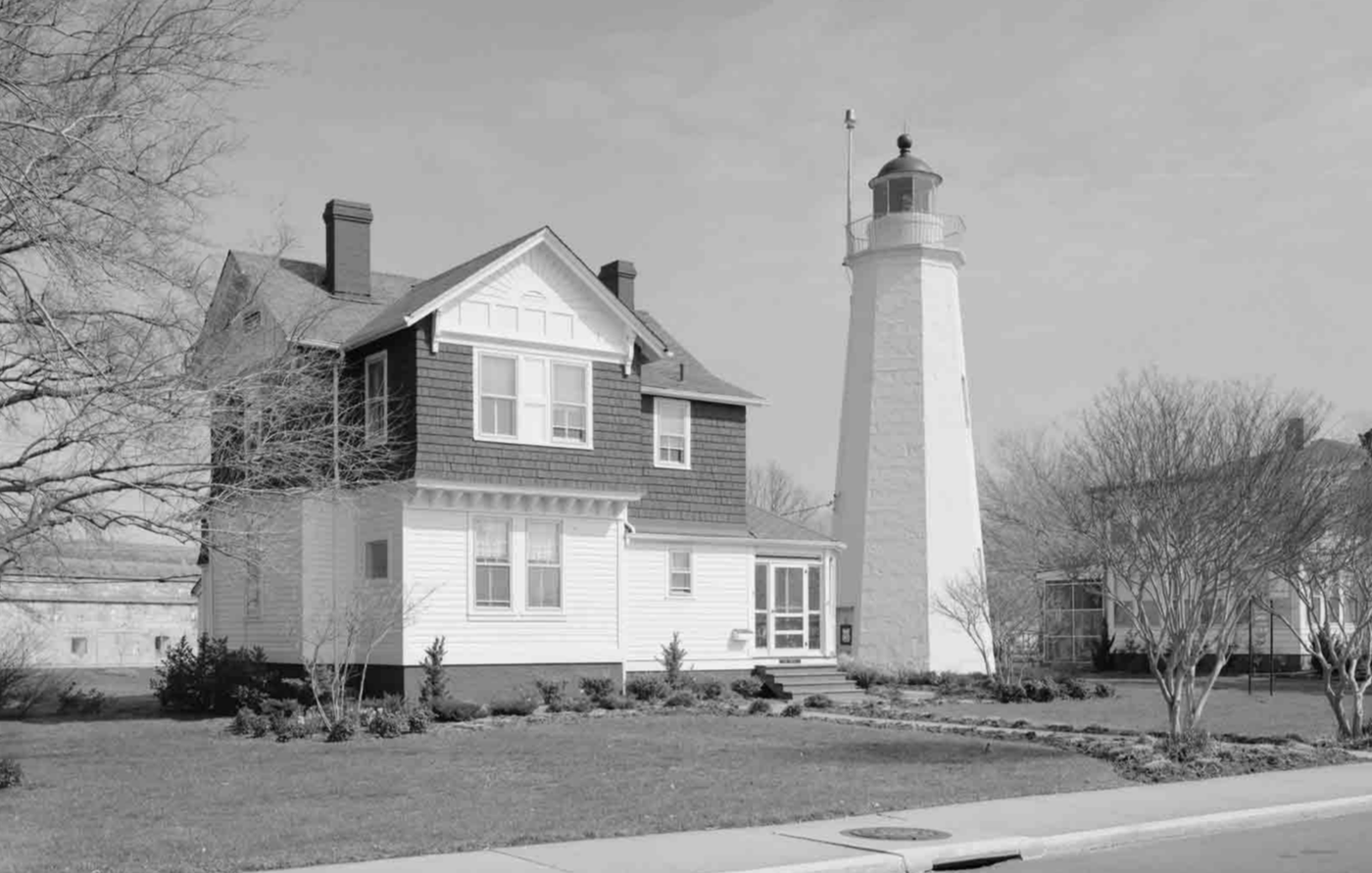 Childhood home of James Wormley Jones near the U.S. Army base at Fort Monroe in Virginia. (Black and white photo)