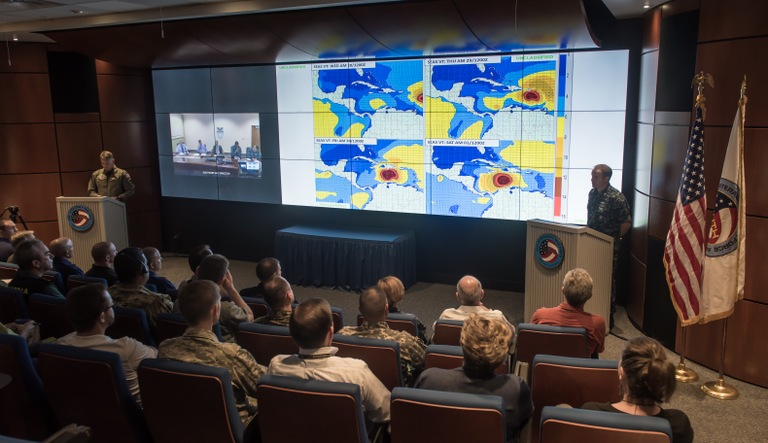 Briefing room at JIATF-S on Key West, Florida