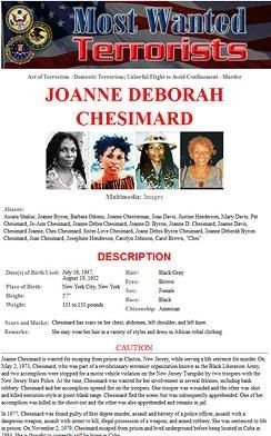 Joanne Chesimard was named a Most Wanted Terrorist by the FBI—the first woman ever to make the list—for the cold-blooded murder of a New Jersey state trooper in May 1973.