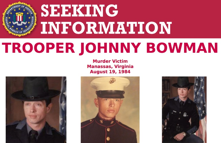 Screenshot of top portion of Seeking Information poster for Trooper Johnny Bowman