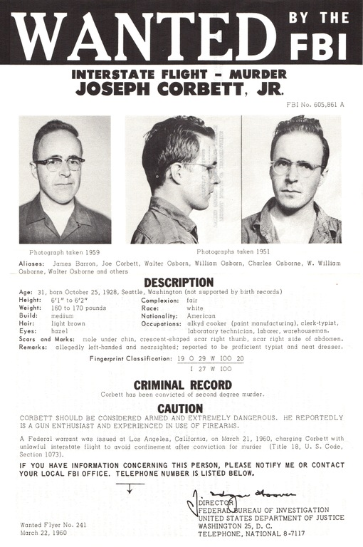 Joseph Corbett, Jr.'s FBI Wanted Poster