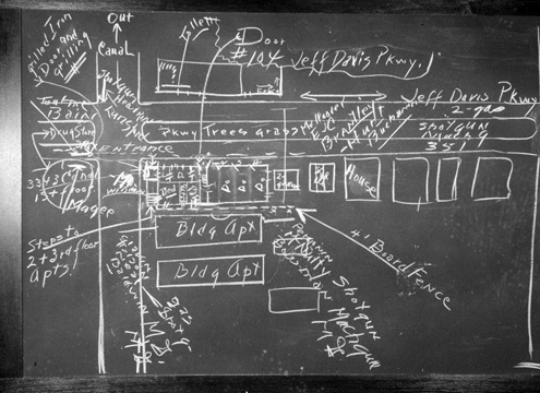 The FBIas plan to capture Karpis was sketched out on a blackboard. Karpis was arrested in New Orleans on May 1, 1936.