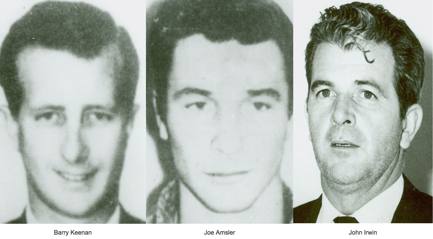 Barry Keenan, Joe Amsler, and John Irwin, who all participated in the kidnapping of Frank Sinatra, Jr. in 1963.