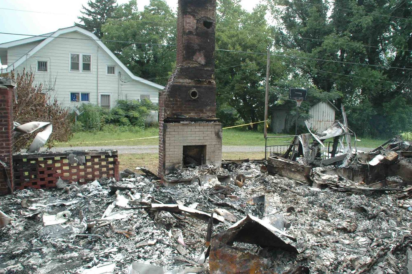 Burned-out remains of Steve and Brandi Pritchard's rented home in Columbia, Kentucky, following a fire they set to collect insurance proceeds.