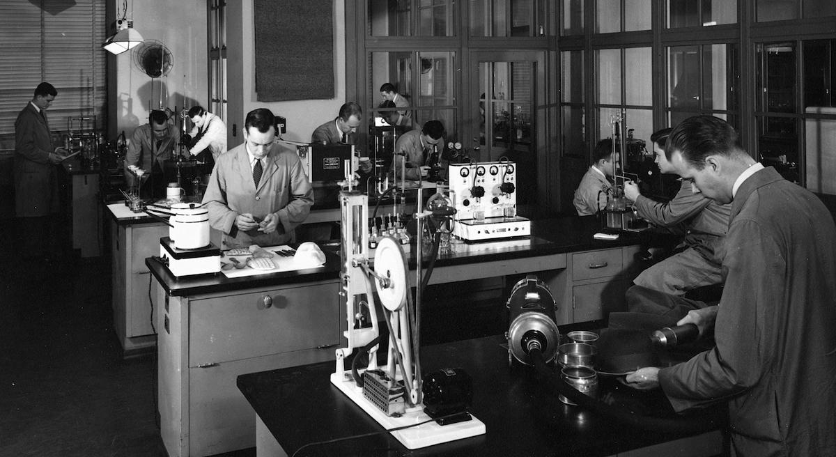 Wartime FBI Laboratory with diverse laboratory equipment to analyze evidence.