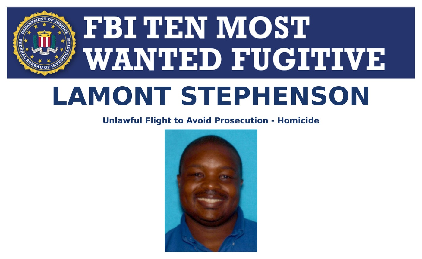 Screenshot of top portion of Lamont Stephenson's Ten Most Wanted Fugitive poster.