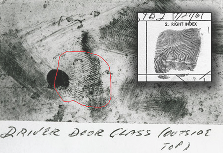 A latent print removed from a 1969 murder victimas car was later determined to be a match to the suspectas fingerprint (inset) contained in the FBI's Integrated Automated Fingerprint Identification System (IAFIS). The Houston police detective and Texas Department of Public Safety latent print technician instrumental in solving the cold case were honored by the FBI with the 2011 aLatent Hit of the Yeara Award.