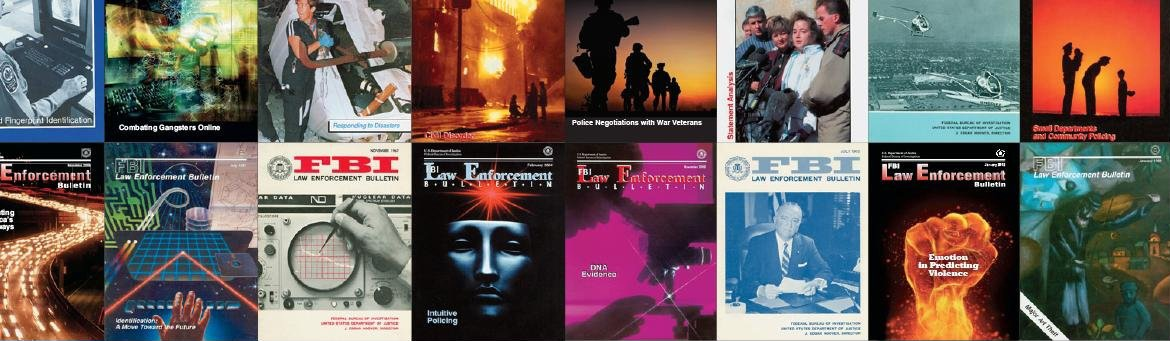 Series of Law Enforcement Bulletin covers.