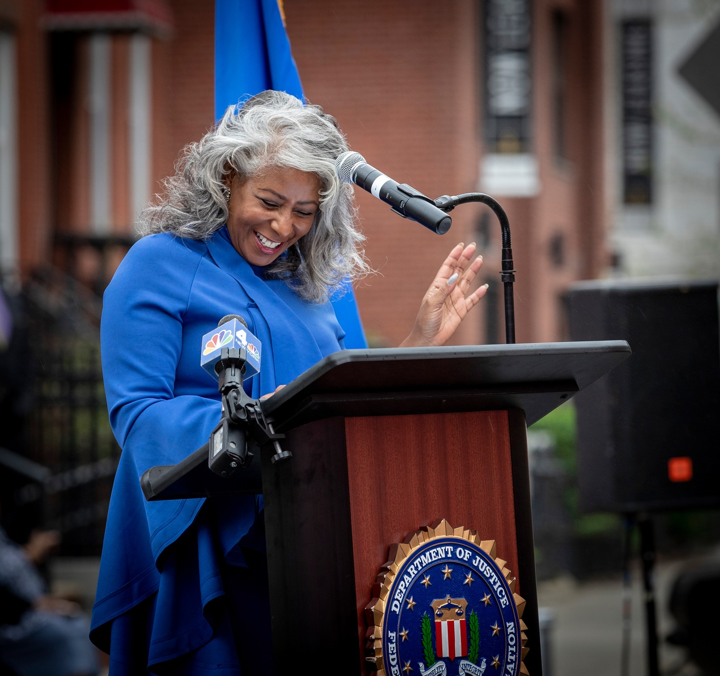 Lee Ann Woodriffe speaks during an April 26, 2019 street renaming ceremony in Brooklyn, New York, in honor of her father, Edwin R. Woodriffe, who was the first African-American FBI agent killed in the line of duty.