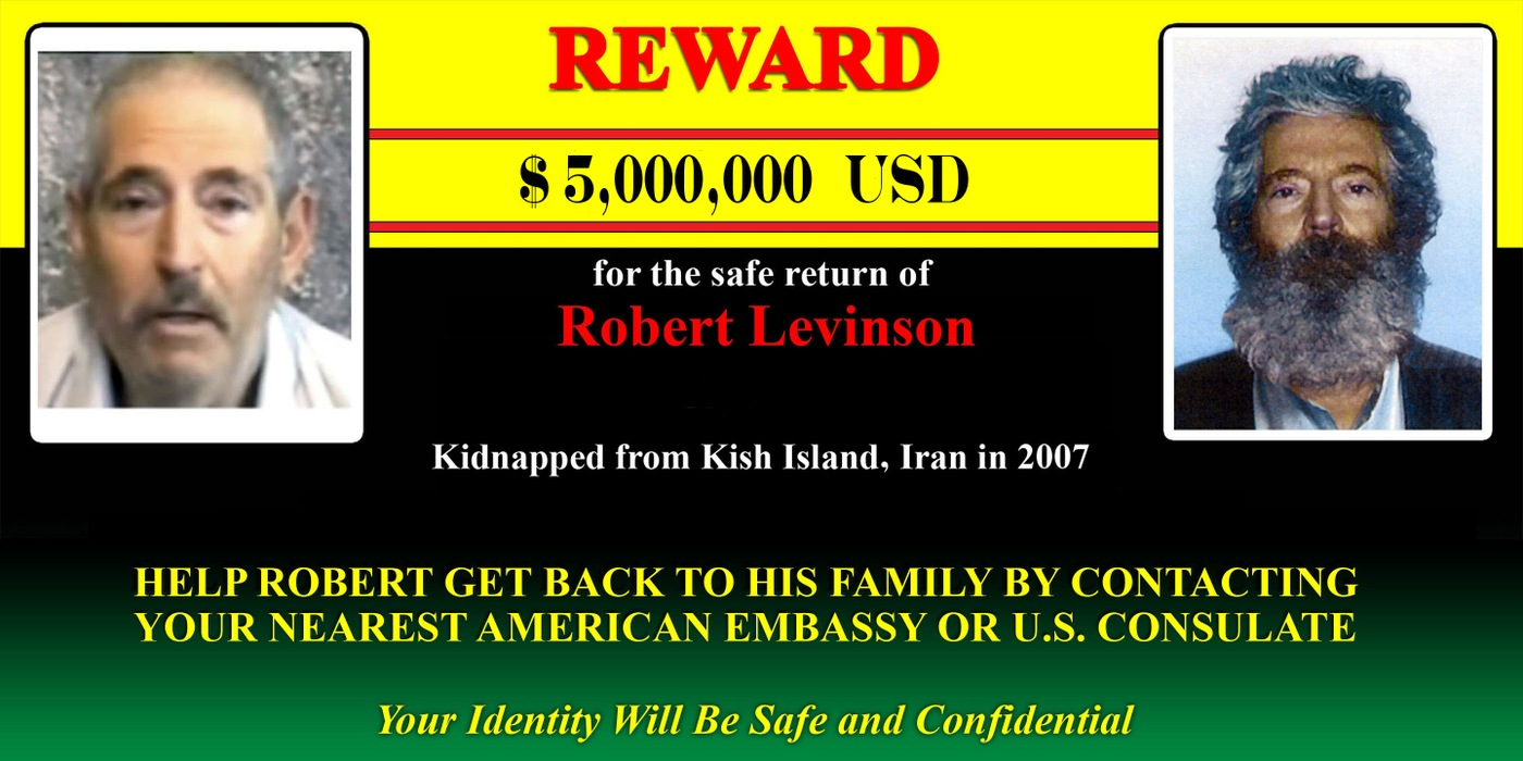 Billboard of Retired FBI Robert Levinson, who went missing from Kish Island, Iran, on March 9, 2007.