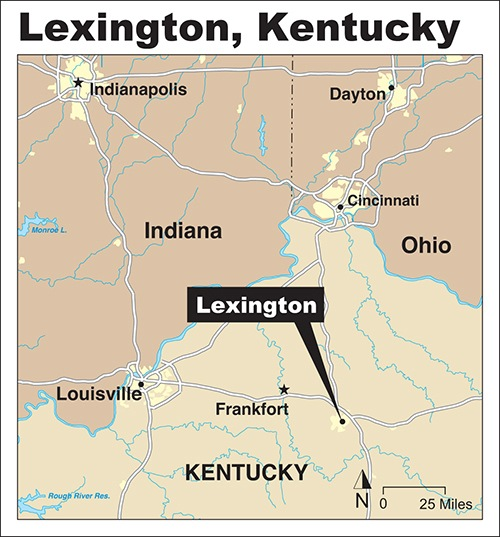 Map showing location of Lexington, Kentucky