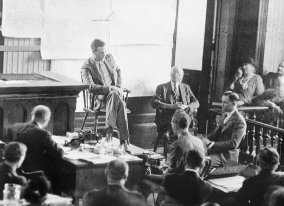 Lindbergh takes the witness stand during the 1935 trial of Hauptmann in Flemington, New Jersey. Hauptmann was found guilty on February 13, 1935. Photo courtesy of the Library of Congress.