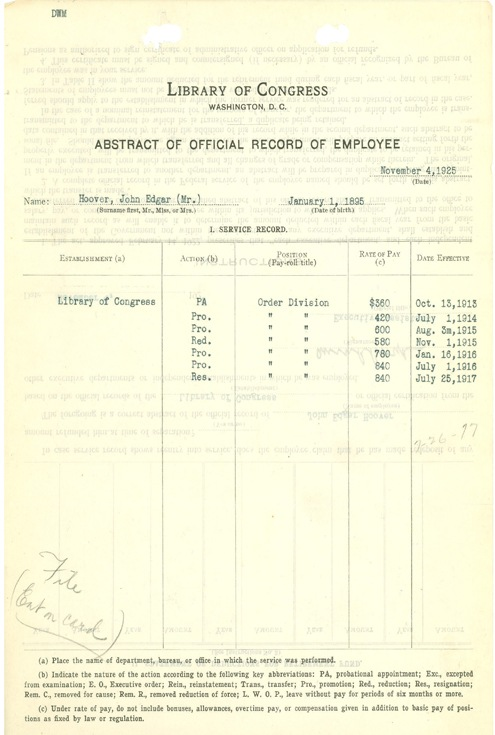 Hooveras early service record at the Library of Congress.
