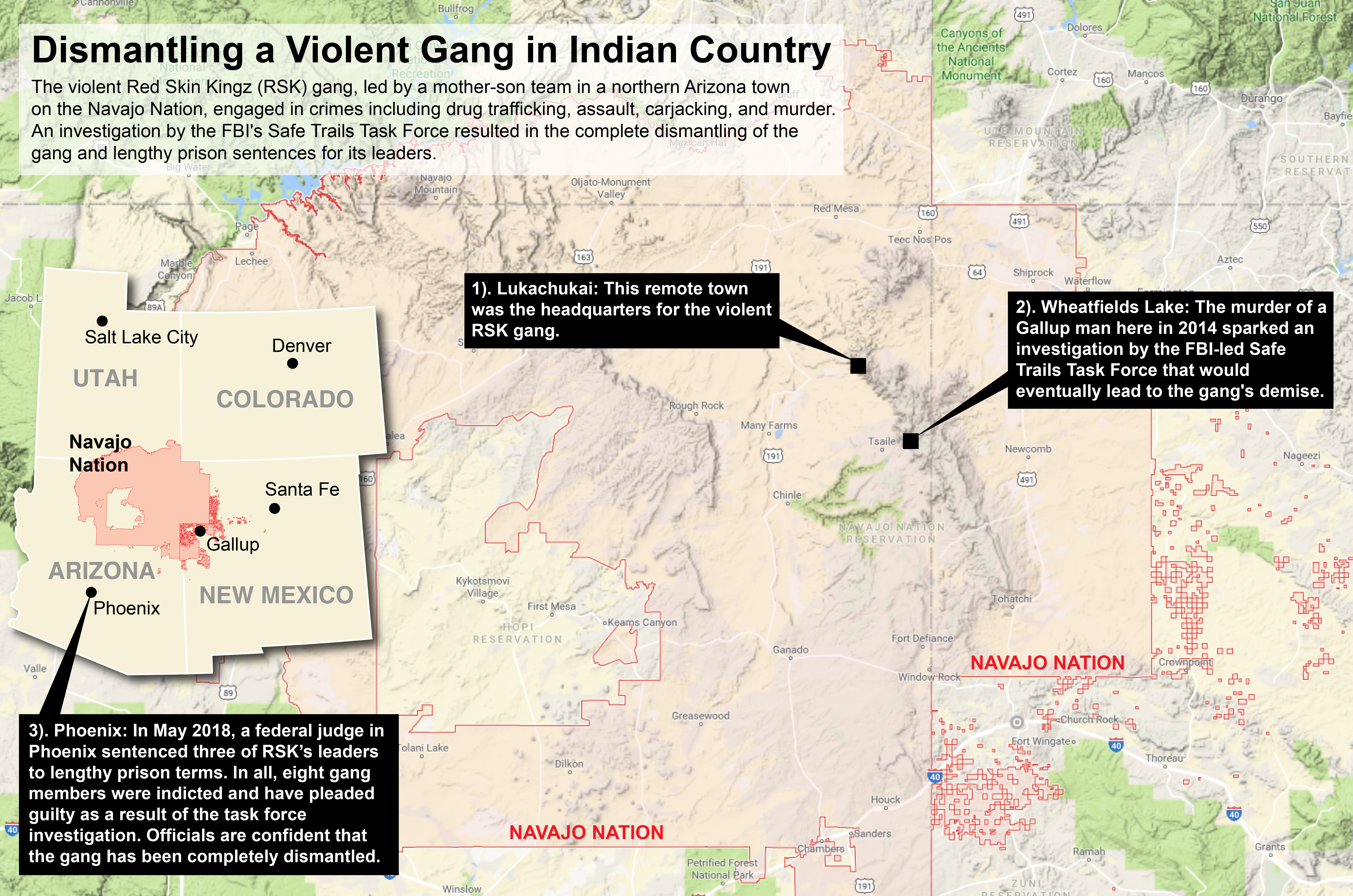 Locator map showing the Navajo Nation Indian Reservation and pinpointed activities of the violent Red Skin Kingz, or RSK, gang.