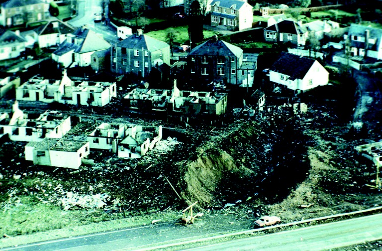A massive crater created in the town of Lockerbie by the crash of Pan Am Flight 103 in December 1988. AP Photo