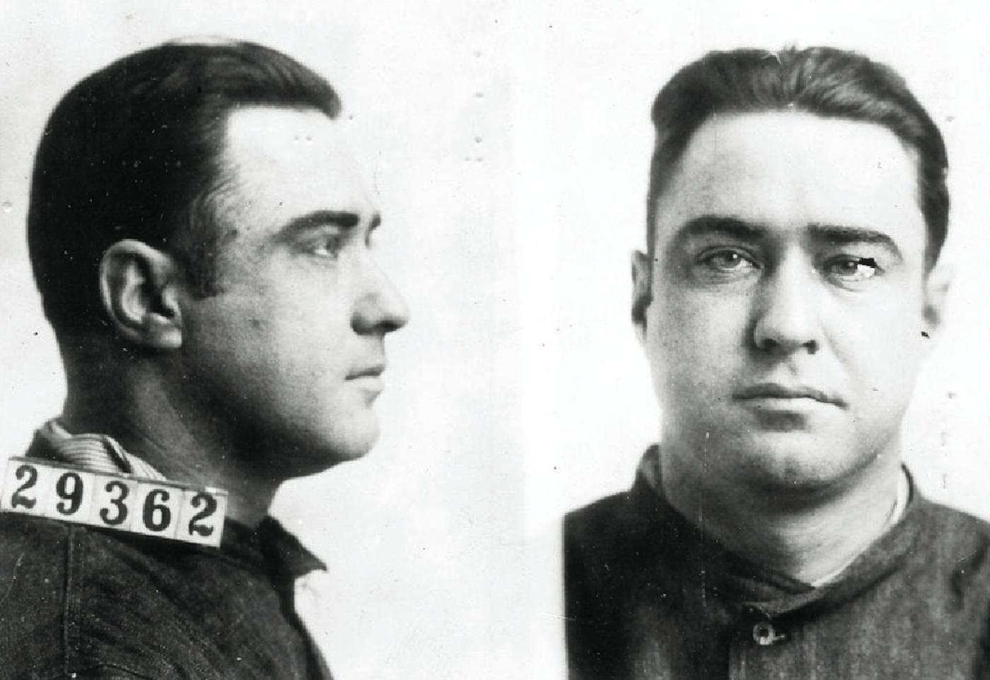 "Mug shots of George ""Machine Gun"" Kelly (real name George Barnes), gangster and kidnapper who reputedly said ""Don't shoot, G-men"" when arrested in Memphis in 1933. George Kelly and his gang kidnapped a wealthy oil magnate in 1933."