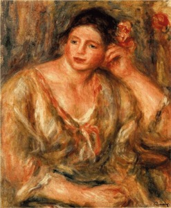 Young woman seated, leaning on her elbow, dressed in loose, flowing garment
